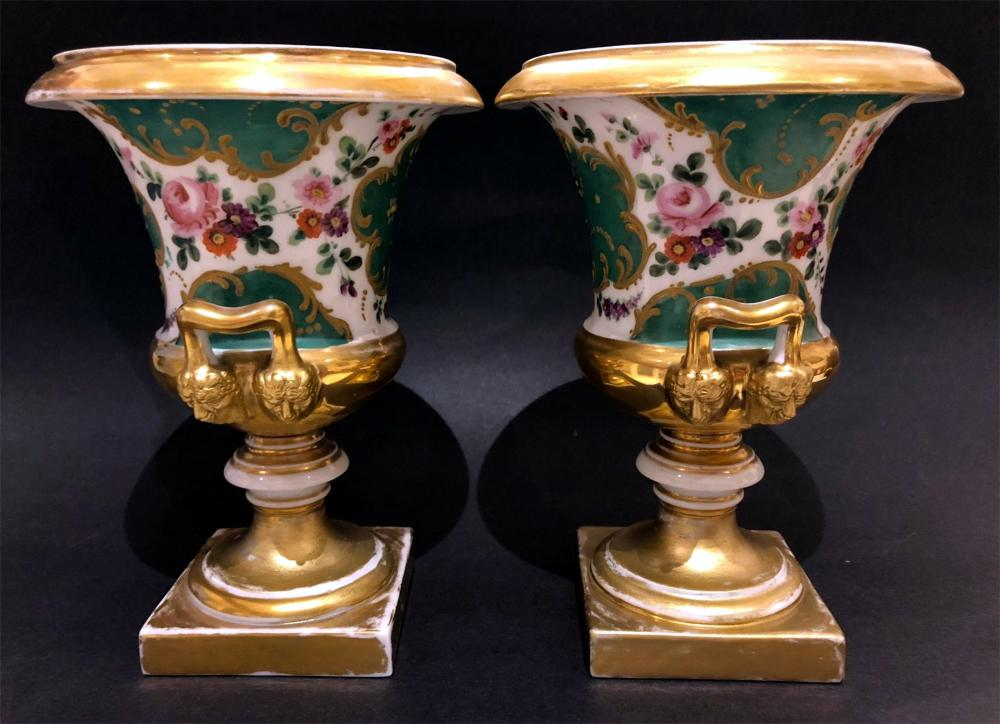 Vases (2) Russian Imperial Popov Factory Porcelain 1870s