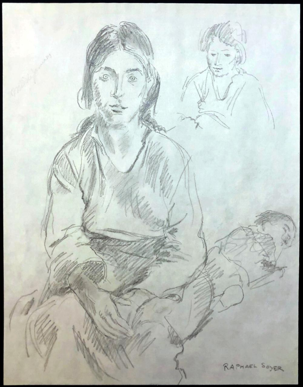 Raphael Soyer: Mother & Sleeping Child. Signed Pencil Drawing