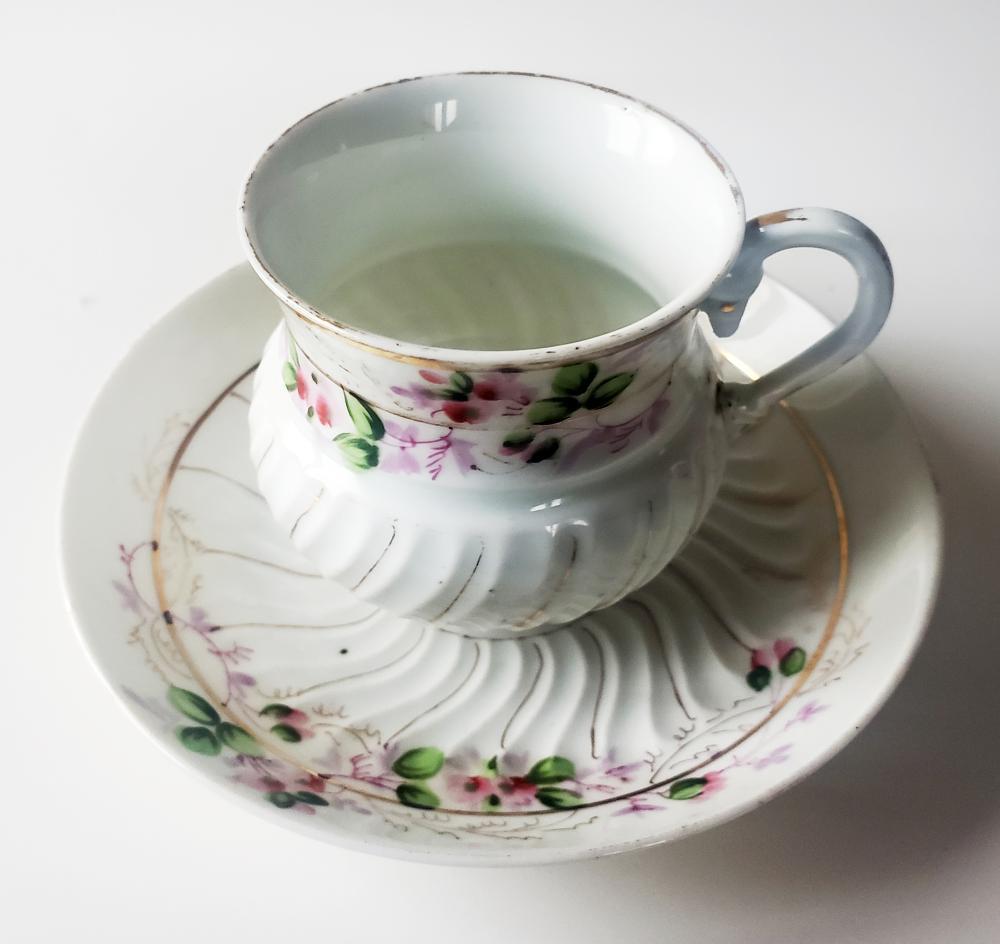 Porcelain Teacup & Saucer, Kuznetsov Russian Imperial Factory 1890s