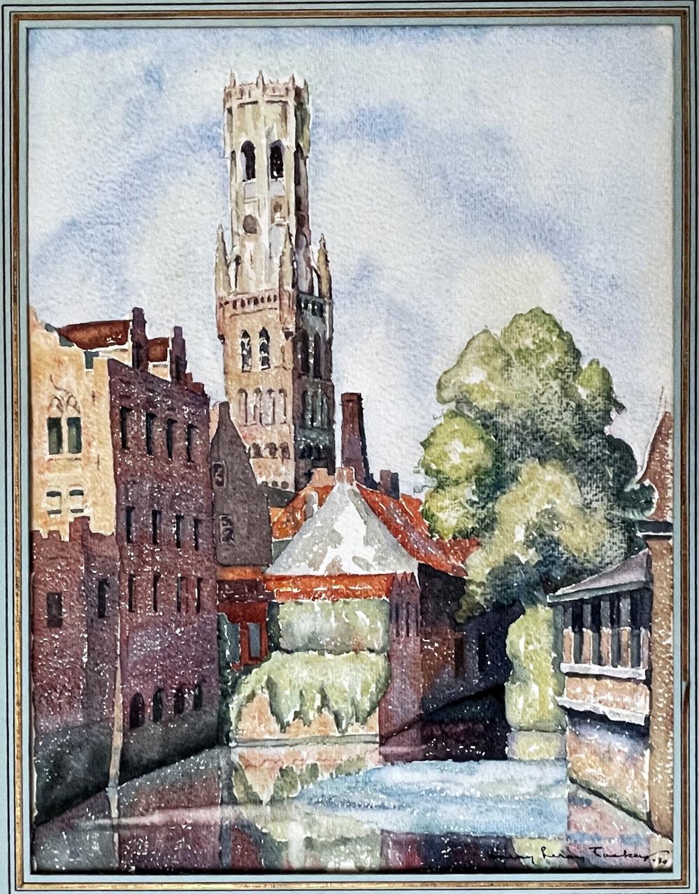 Harry LeRoy Taskey: Belfry Bruges, 1930 Watercolor