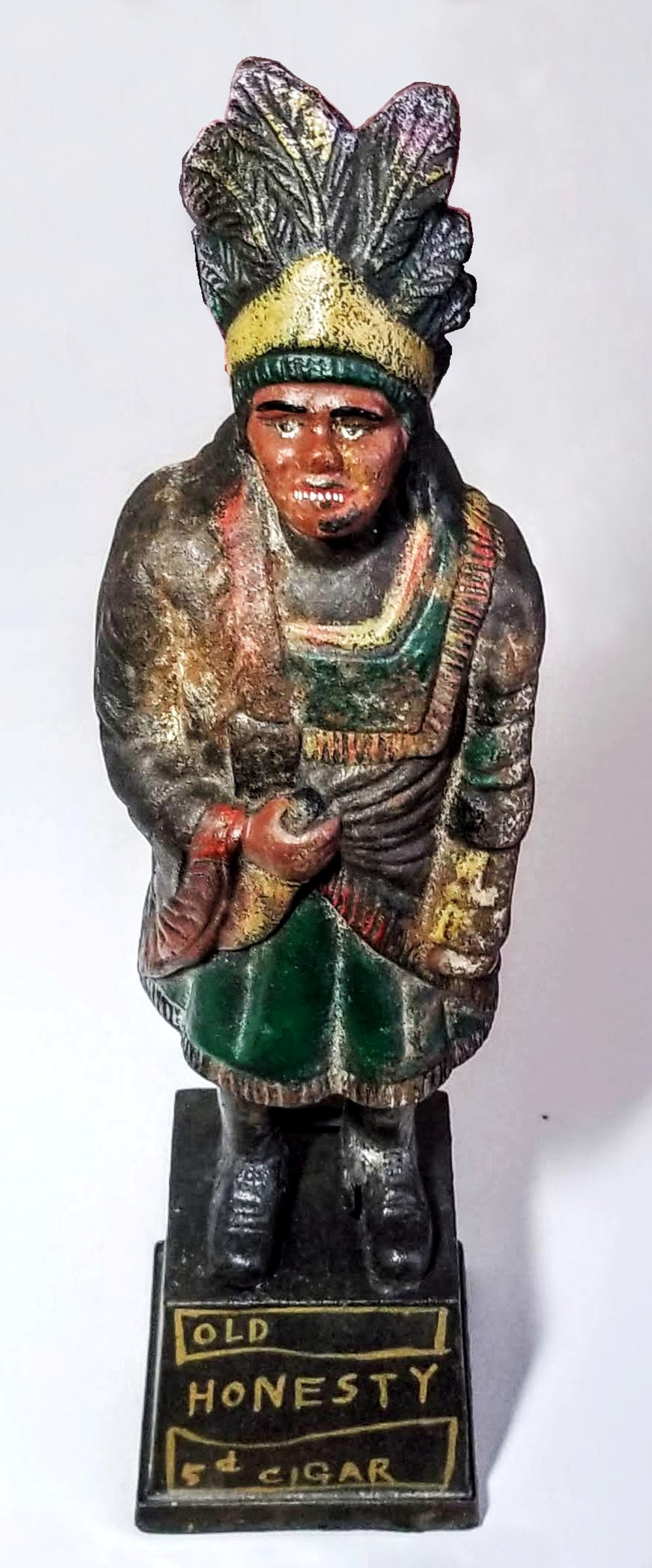 Old Honesty Cigar Store Indian c 1900s Cast Iron