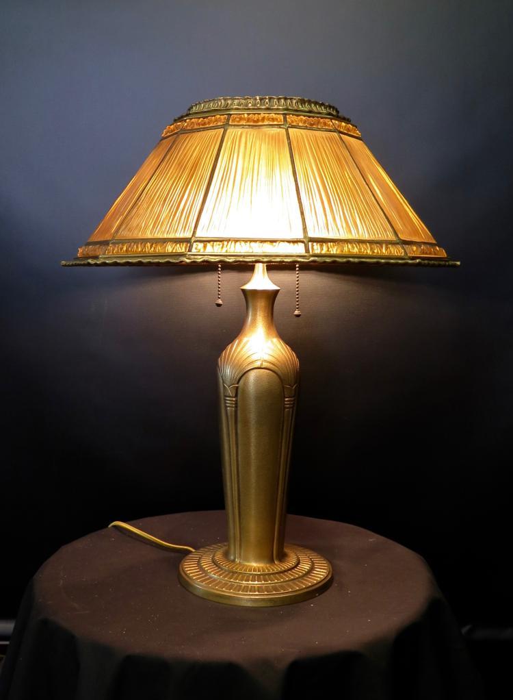 Tiffany Studios Lamp w/ Linenfold shade