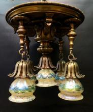 Vintage Bronze Fixture w/ Five Loetz shades