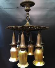 Vintage Bradley & Hubbard Bronze Fixture with Six Steuben Shades