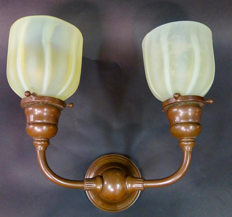 Tiffany Studios Double Wall Sconce w/ Tiffany Studios Shades