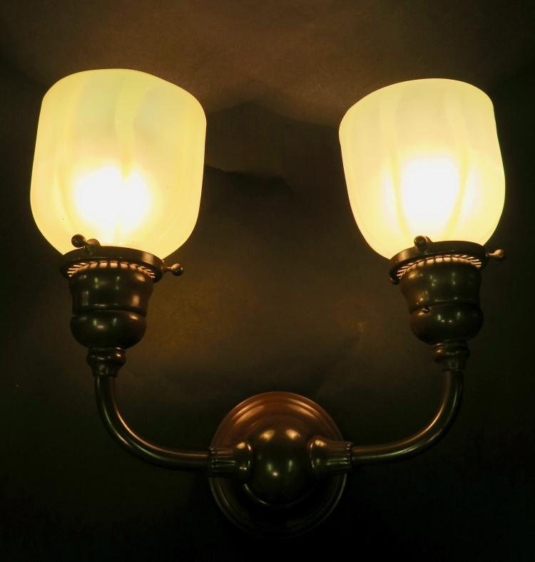 Double Wall Sconce With Shades : Tiffany Studios Double Wall Sconce w/ Tiffany Studios Shades