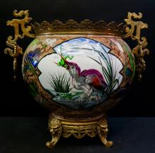 Late 19th Century Decorated Victorian Faience Pottery Planter