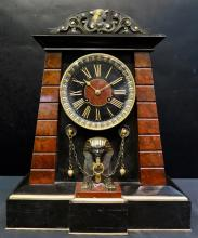 Achille Brocot French Egyptian Revival Bronze & Marble Mantle Clock