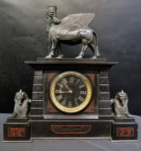 Vintage Late 19th Century American Egyptian Revival Mantle Clock
