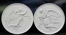 Vintage Late 19th Century Royal Copenhagen White Bisque Plaques (3)