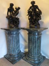 Vintage pair of Green Marble Pedestals