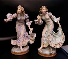 Vintage Pair of Continental Bisque Dancing Maidens