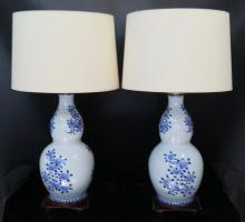 Vintage Chinese Style Porcelain Table Lamps, pair