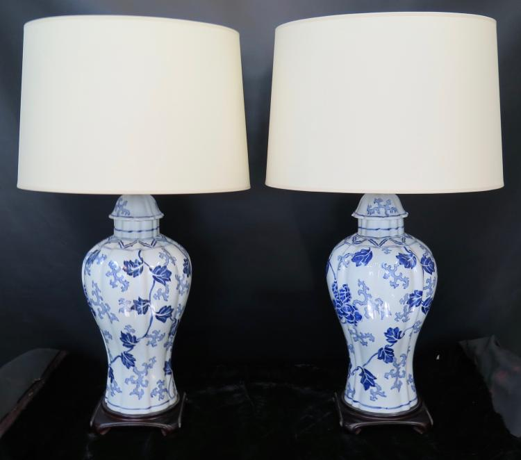 Vintage Chinese Style Table Lamps Pair