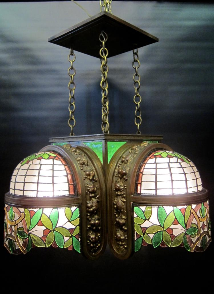 Vintage Bronze & Leaded Glass 1920's/30's Ceiling Fixture