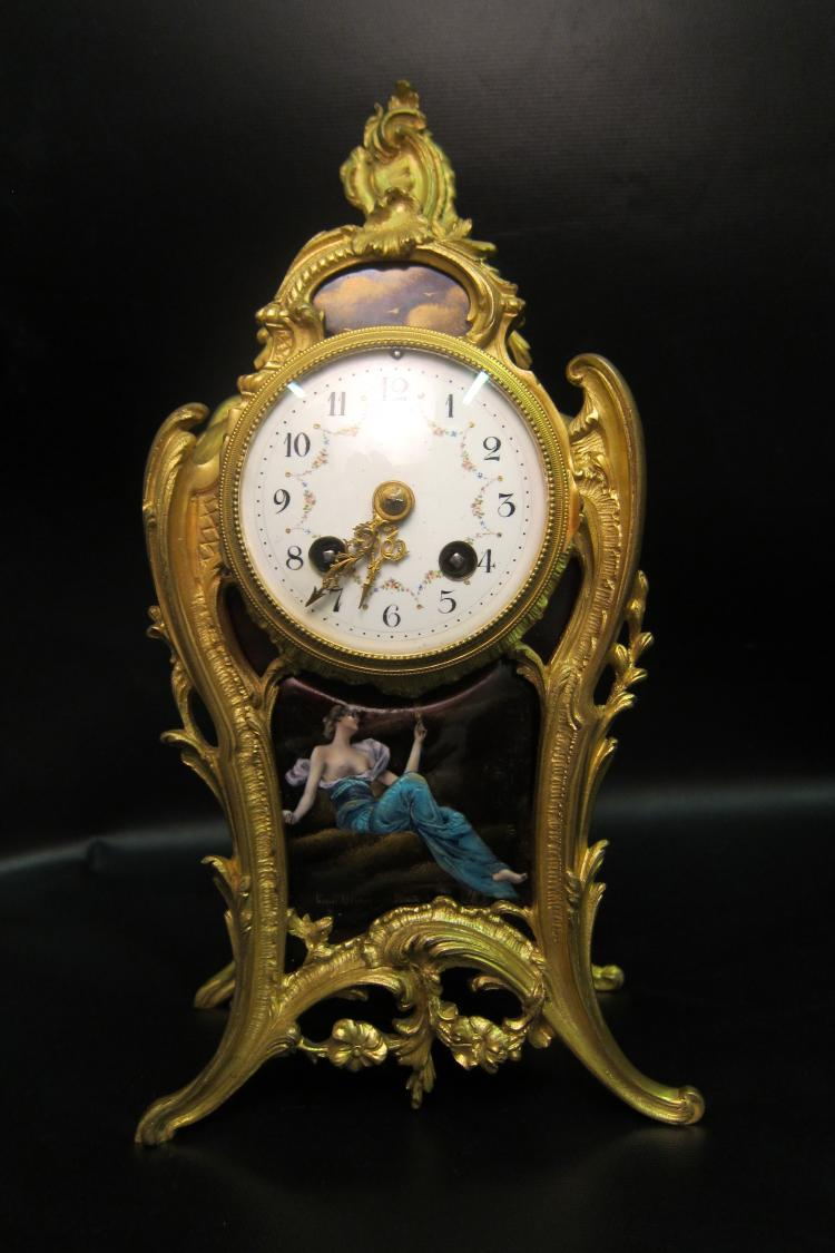 Vintage Mid 19th Century French Gilt Bronze & Enamel Boudoir Clock