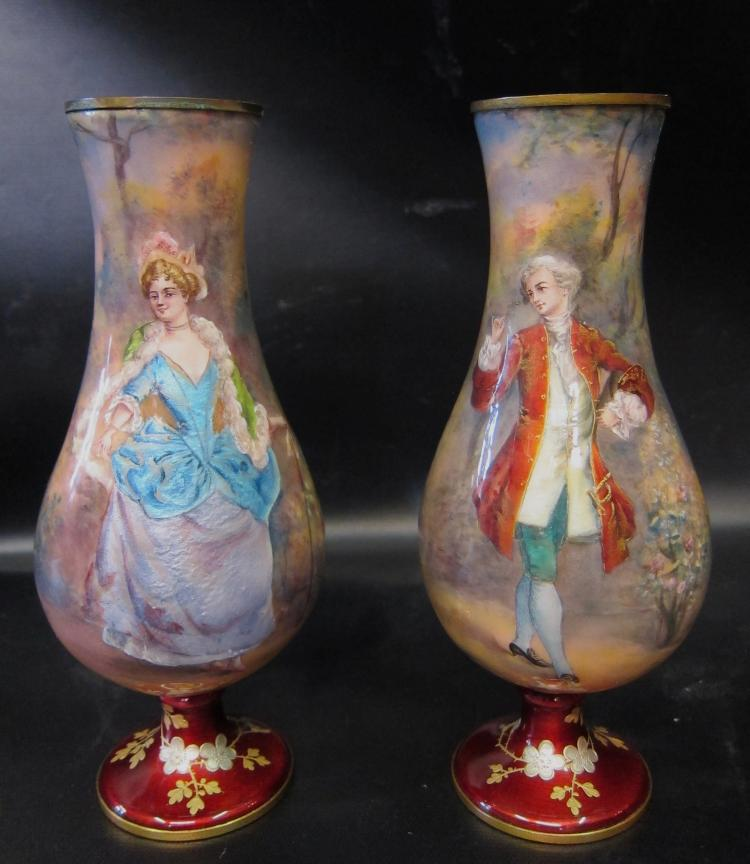 Vintage 19th Century, Artist Signed Pair of Enamel Vases