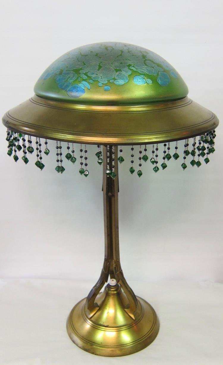 Vintage Art Nouveau Loetz Table Lamp