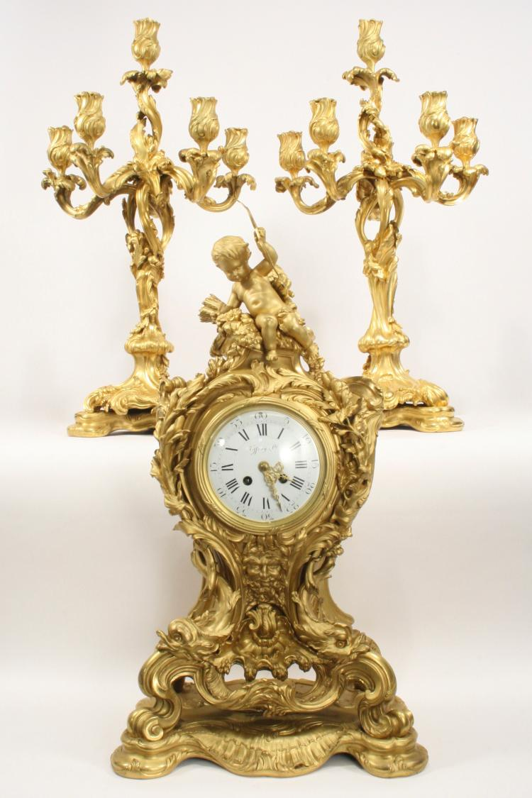 E. Colin & Cie, Tiffany & Co. Bronze Clock Ensemble