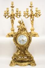 E. Colin & Cie, Tiffany & Co. Bronze Clock Ensemble