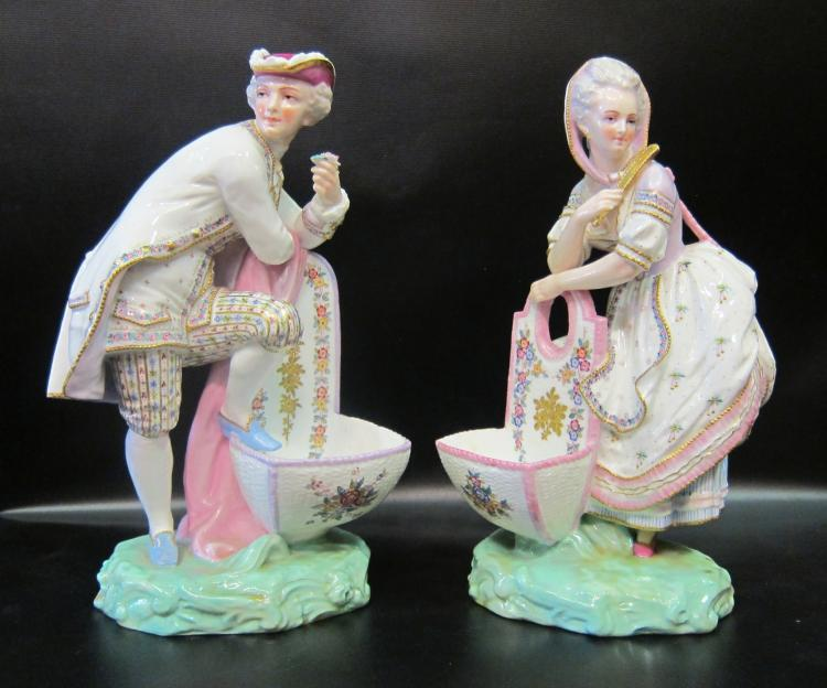 Large 19th Century Porcelain Figural Salt Cellars