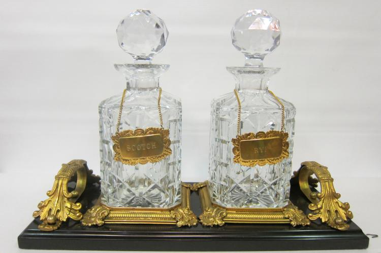 Gentleman's Vintage Crystal & Marble Decanter Set