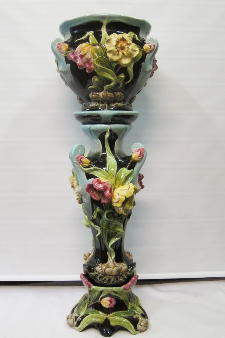 Vintage Art Nouveau Jardiniere & Pedestal