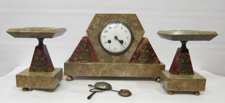 Vintage French Art Deco Marble & Bronze Clock Set