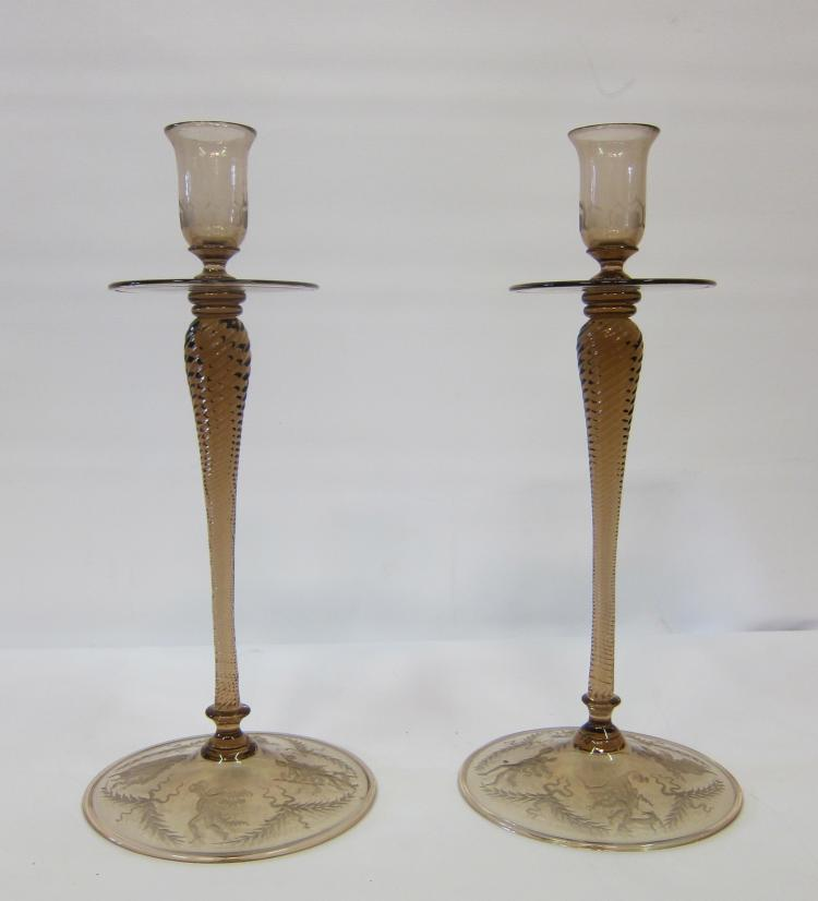 Vintage Pair of Steuben Etched Candlesticks