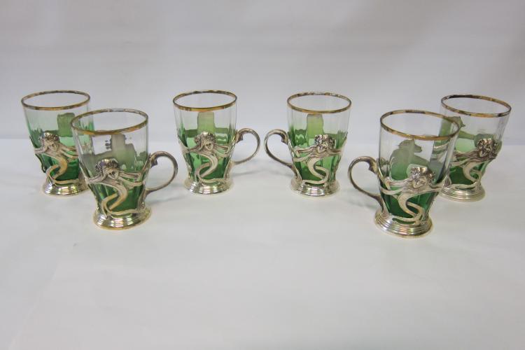 Vintage Set of 6 Art Nouveau Glasses in Handled Holders