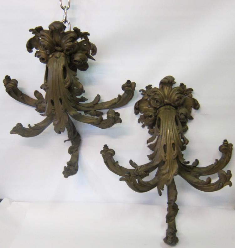 Early 20th Century Decorative French Bronze Sconces