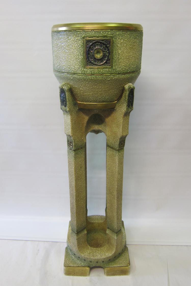 Austrian (? Amphora) Jardiniere & Pedestal