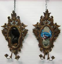 Pair of 20th Century Gesso Sconces
