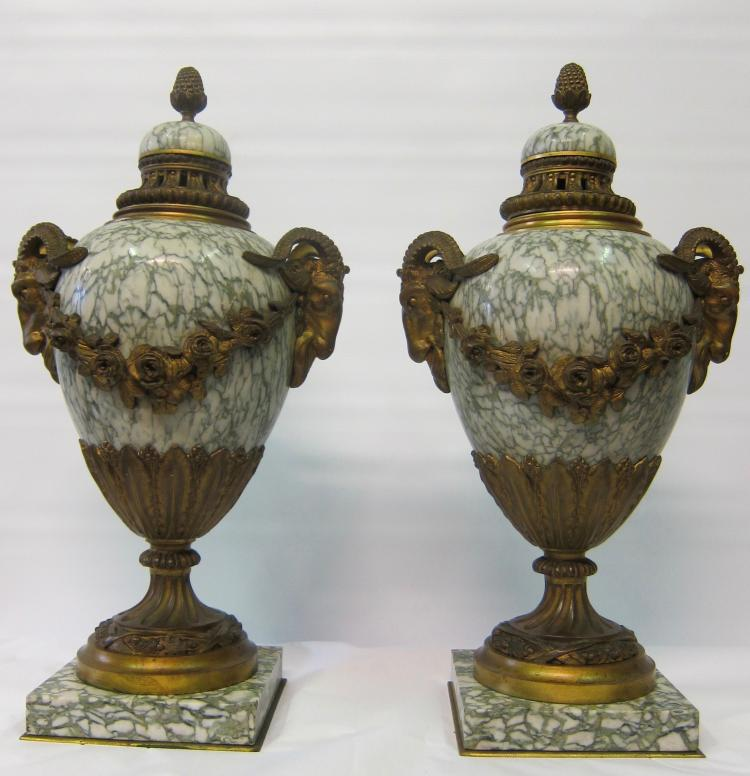 Pair of Vintage Empire & Ormolu Urns, circa 1860's