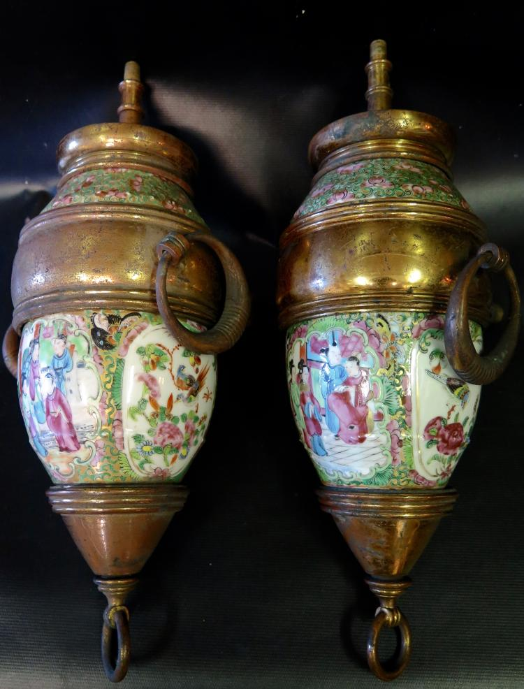 Rare Pair of19th Century Chinese Gas Lanterns