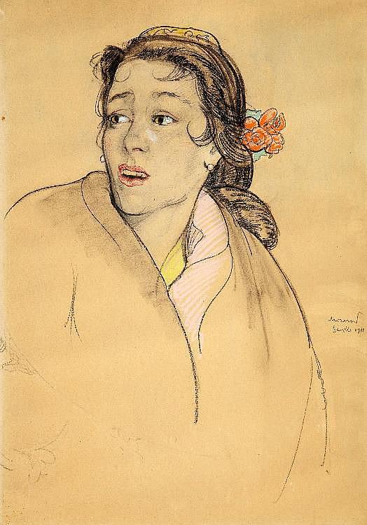 Morerod Edouard, Femme chantant - Sevilla 1911. Zeichung Pas