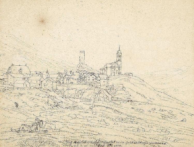 Hospenthal, Tuschfederzeichnung auf Büttenpapier. Datiert 1814. Johann Chri