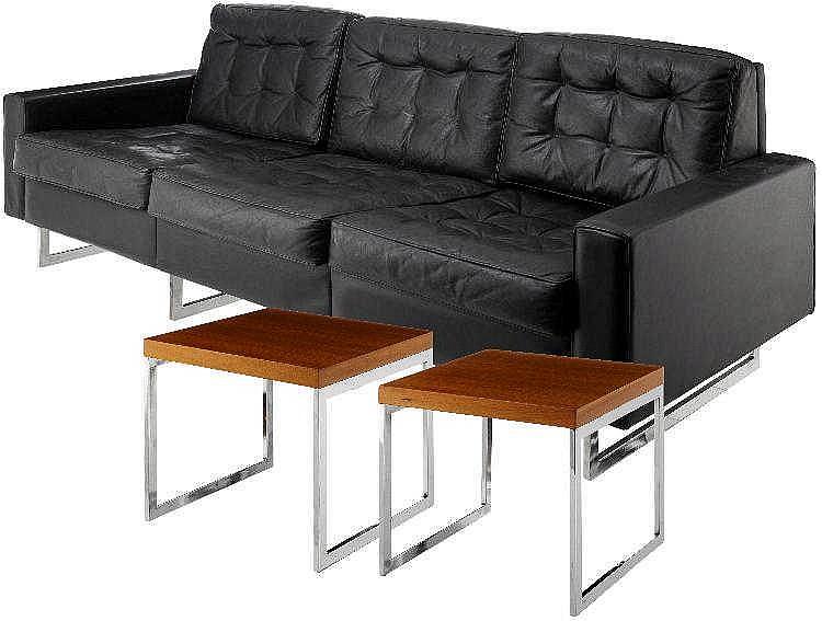 Design sofa und zwei beistelltische 70 er jahre ledersofa for 70 er jahre couch