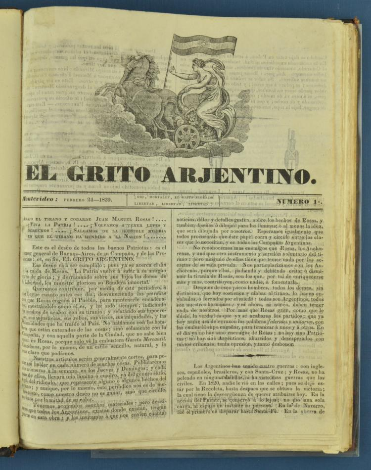 """Newspaper """"El Grito Argentino"""" (sic). Montevideo.Printing of Charity. 1839. Complete collection, numbers 1 to 33. // Exceptional newspaper opposed to the government of Juan Manuel de Rosas. Each number on the last page carries an illustration -caricature or drawing- with the events of the week. The """"federals"""" of the Argentine Confederation were in charge of destroying all the specimens that arrived in their territory. In the Peña collection only 8 numbers of the 33 published were preserved."""