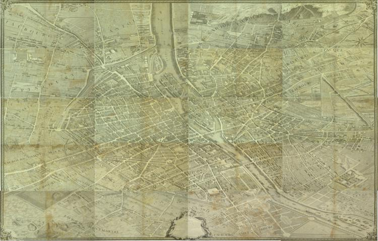 """Plan of Paris I started l'Année 1734. Paris: """"Levé et Dessiné for Louis Bretez, Gravé par Claude Lucas"""", 1739. // Map of index of double page and great plane of perspective on 20 leaves. With enormous decorative appeal, representing its large churches, public buildings and monuments, the map also offers fascinating indications of the daily life of the seventeenth century metropolis. Total measurements: Height 250 cm - width 318 cm. Sheet dimensions: Height 50 cm - Width 79.5 cm."""
