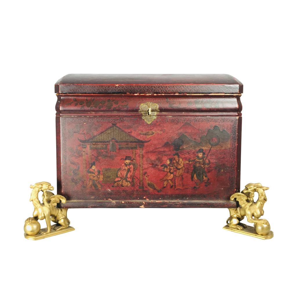 Chinoiserie lacquered wood chest