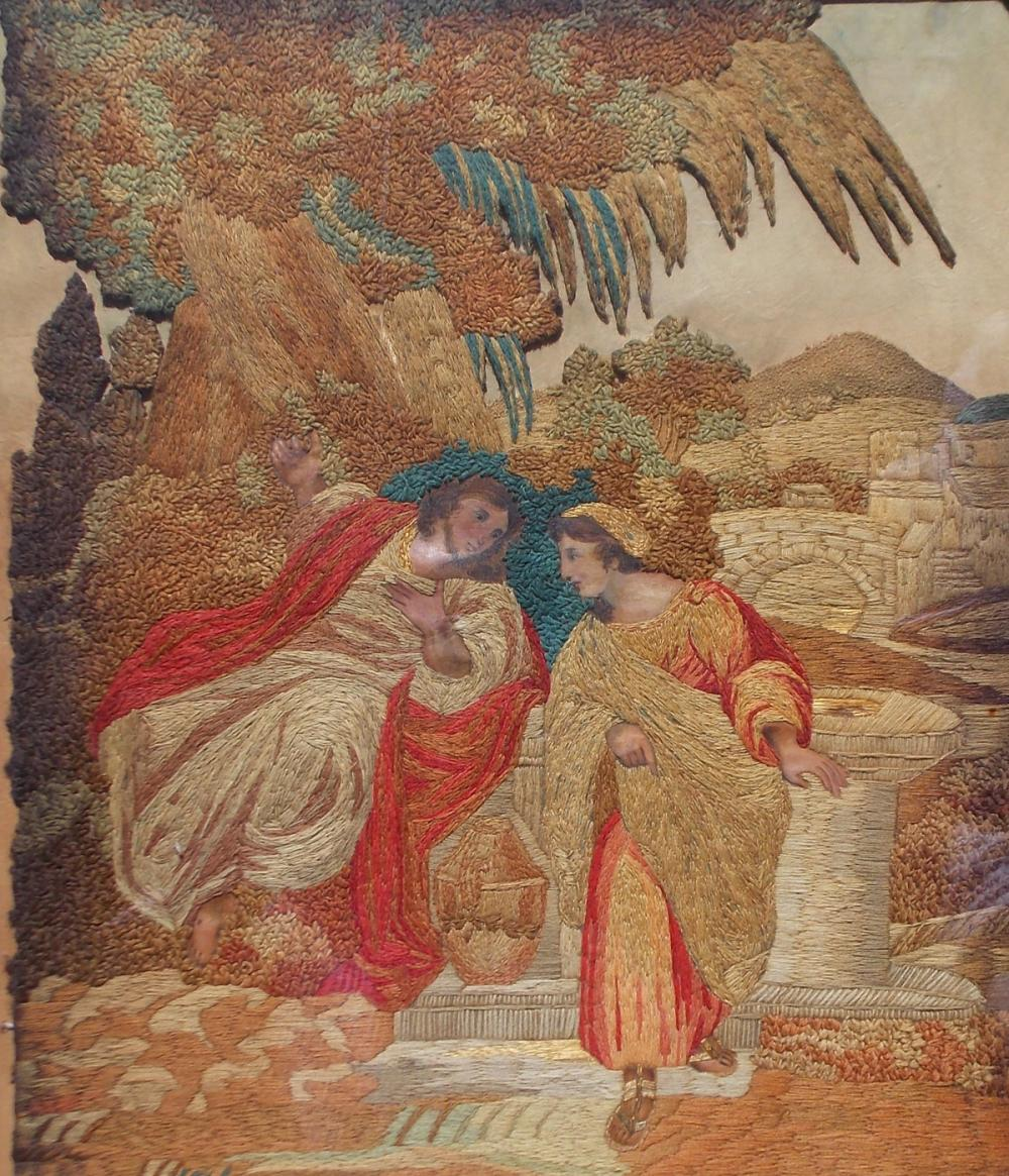 Victorian Picture Jesus And The Samaritan Woman Embroider