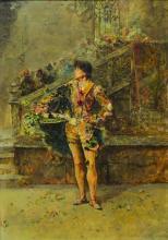 """SALVADOR SANCHEZ BARBUDO (1857 - 1917 - Escuela Española). Óleo sobre madera """"Mosquetero"""". Firmado abajo a la derecha. Medidas: alto 35 cm - ancho 25 cm."""