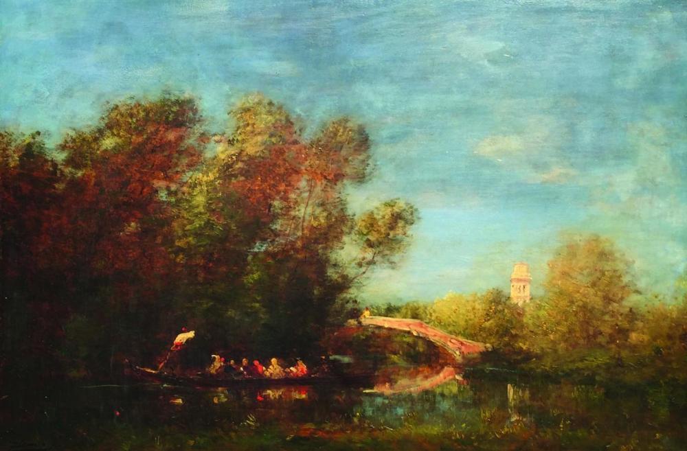 """FELIX ZIEM (1821 - 1911 - Escuela Francesa). Óleo sobre tabla """"Canal de Venecia con puente, góndola y torre"""". Firmado abajo a la izquierda. Medidas: alto 54 cm - ancho 80 cm."""