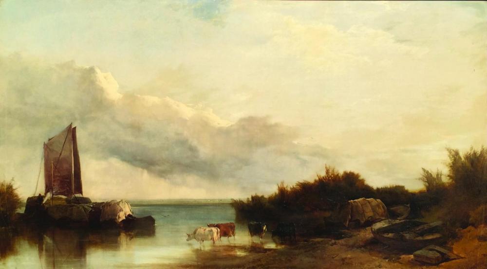 """HENRY BRIGHT (1810 - 1873 - Escuela Británica). Óleo sobre tela """"Norfolk broad"""". Firmado abajo a la derecha. Medidas: alto 60 cm - ancho 110 cm."""