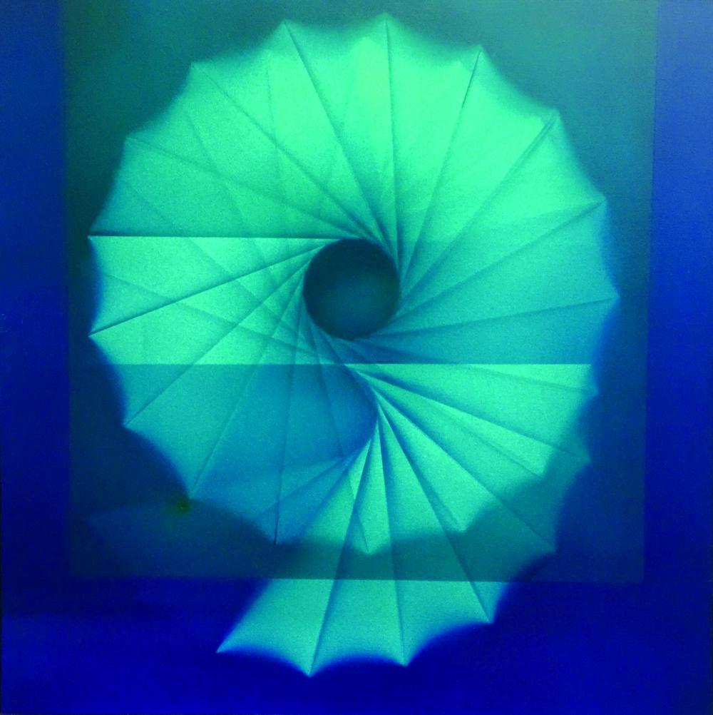 """MIGUEL ANGEL VIDAL (1928 - 2009 - Escuela Argentina). Acrílico sobre tela """"Laberinto del caracol I 1977"""". Al dorso firmado, fechado y titulado por el artista. Medidas: alto 100 cm - ancho 100 cm."""