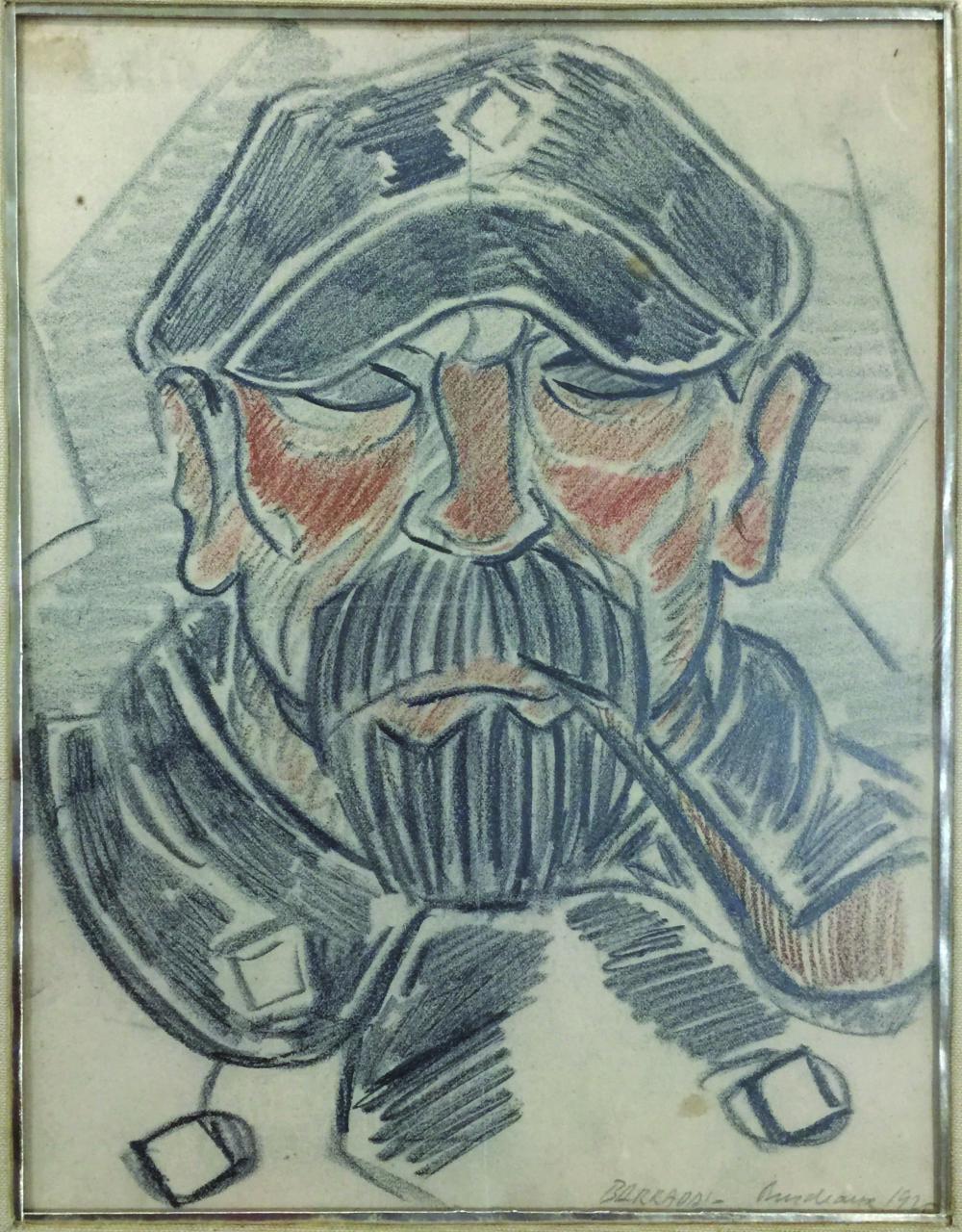"""RAFAEL BARRADAS (1890 - 1929). Lápiz sobre papel """"Marinero del Cantábrico"""". Firmado, situado Burdeaux y fechado """"1925"""" abajo a la derecha. Medidas: alto 26 cm - ancho 20 cm."""