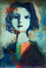 """OSCAR GARCIA REINO (1910 - 1993). Óleo sobre tela """"Dama"""". Firmado abajo a la derecha. Al dorso certificado de autenticidad de la galería Bruzzone firmado por el artista. Medida: alto 19,5 cm - ancho 14,5 cm."""