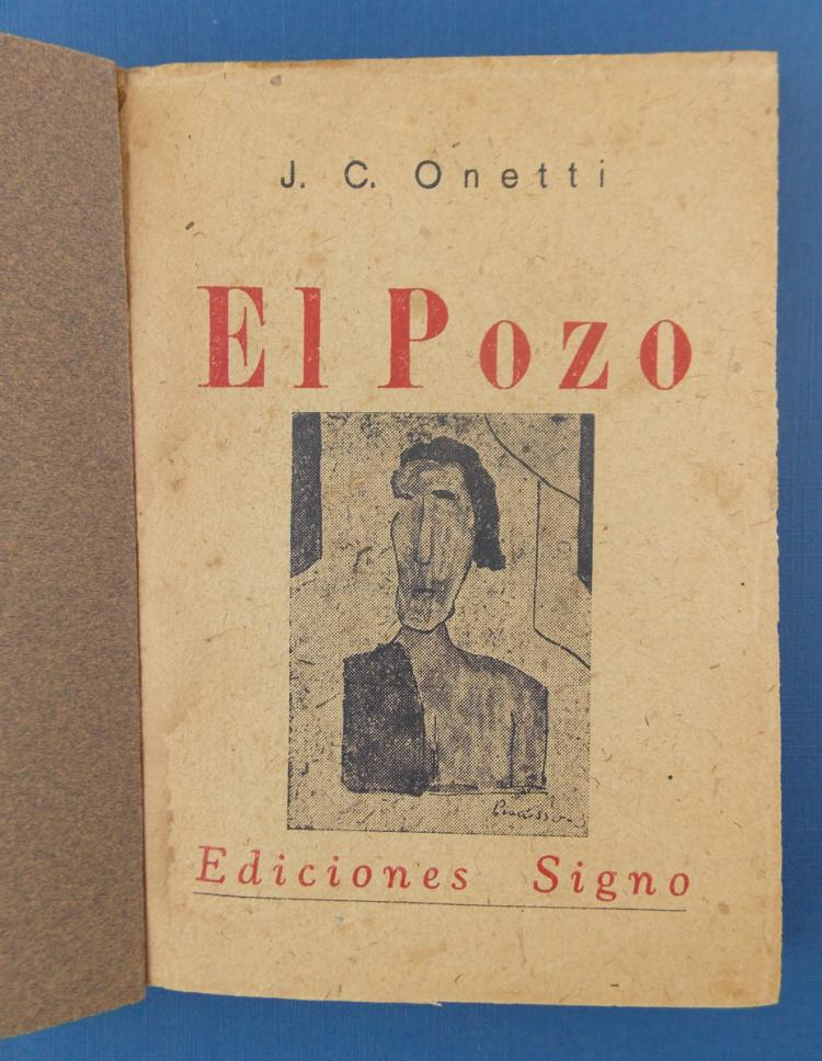 """Onetti, Juan Carlos: """"El Pozo"""", Montevideo , Signo editions. 1939. Binding in full leather. With dedication of the author to Carmelo de Arzadum. //First edition."""