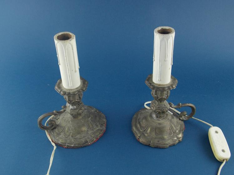 A PAIR OF AUSTRO-HUNGARIAN SILVER CANDLESTICKS